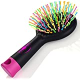 Detangling Brush with Mirror- No Tangle & Pain- Anti Static Soft Bristle- Massaging & Straightening Detangler- Rubberized Grip- Cool/ Cute Colors- Wet & Dry Detangle Comb- For All Hair Types