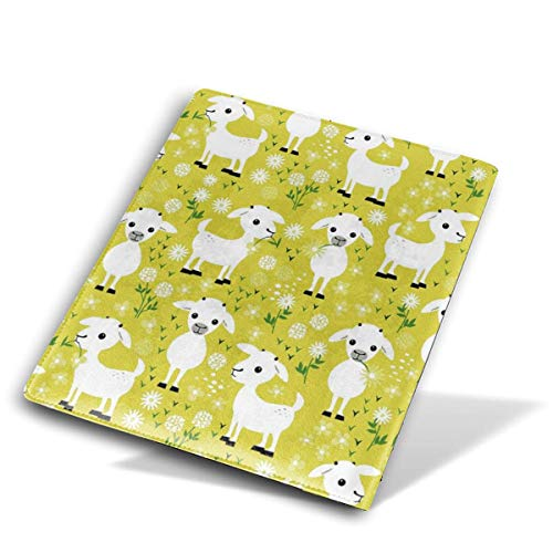 (Yellow Baby Goats Leather Notebook Book Cover Washable Reusable Suitable for All 8.7x5.8in )