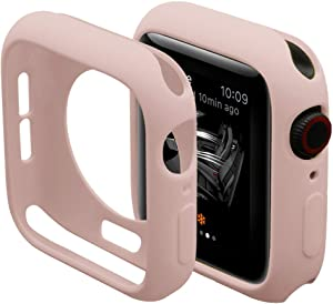 Hontao Ultra Thin Soft TPU Shockproof Built in Bumper Protector for iWatch Case 38mm 40mm 42mm 44mm Series 3/2/1 Sand Pink 38mm