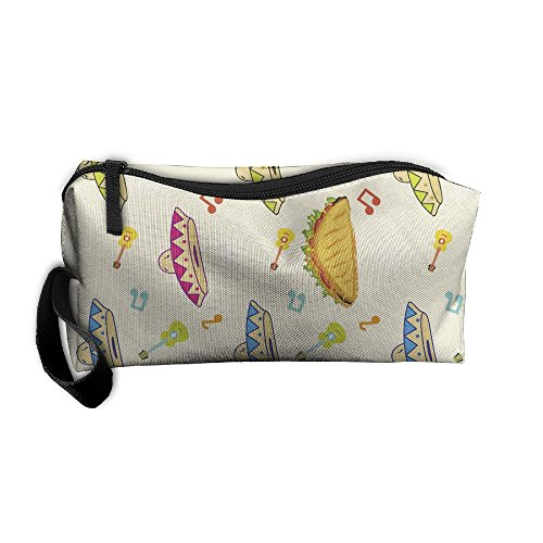 Hat Stationery (LogicPor Mexician Hat Guitar Tacos Portable Zipper Makeup Bag Travel Cosmetic Pouch Toiletries Bag Storage Bag Organize Stationery Pencil Holder Coin Purse Medicine Kit Bag)