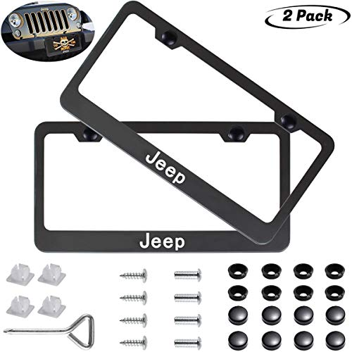 2pcs Newest Matte Aluminum Alloy License Plate Frame ?with Screw Caps Cover Set Suit?Applicable to US Standard car License Frame,FBA Fast Delivery,for Jeep