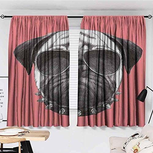 FreeKite Animal Eclipse Blackout Curtains Pink Backdropped Hand Drawn Cute Pug Dog with Sunglasses and Colar Illustration Patio Bedroom Curtains W72 x L84 Inch Coral and ()