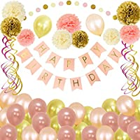Birthday Decorations, Pink and Gold Happy Birthday Party Supplies for Girls Women - HAPPY BIRTHDAY Banner, Paper Pom Poms, Hanging Swirls and Balloons for Kids 13th 18th 21st 30th 50th 60th, Hulaso