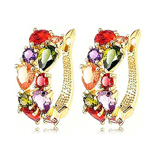 Yoodeet Yellow Gold Plated Multicolor Cubic Zirconia Earrings Bridal Jewelry for Girlfriend (Gold Earring)
