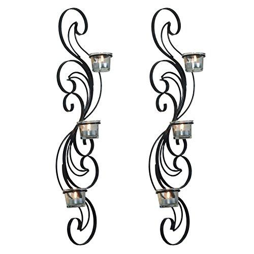 Style European Design - Deco De Ville Contemporary Urban Minimalist Design European Style Metal Tealight Candle Holder Sconce with Glass Cup, Set of 2, Black
