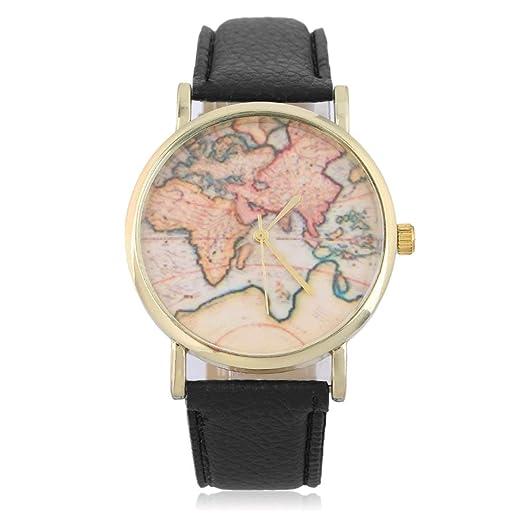 Mujeres con Estilo Mapa del Mundo de Ginebra Reloj Relojes de Ginebra Relojes de Las Mujeres Relojes Relojes de Pulsera de Cuarzo: Amazon.es: Relojes