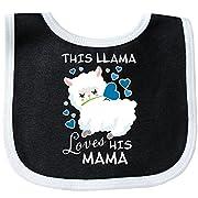 Inktastic - This Llama Loves His Mama with Blue Baby Bib Black/White 2ebce
