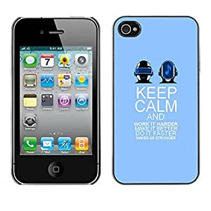 PC/Aluminum Funda Carcasa protectora para Apple Iphone 4 / 4S keep calm and dance purple band music / JUSTGO PHONE PROTECTOR