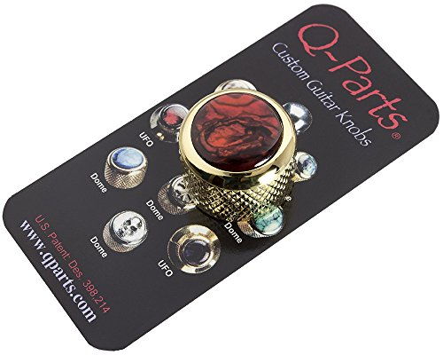 Q-Parts Dome Guitar Knob, Gold with Red Abalone Shell Inlay ()