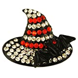 CRYSTAL BLACK HALLOWEEN WITCH WITCH'S HAT BROOCH MADE WITH SWAROVSKI ELEMENTS