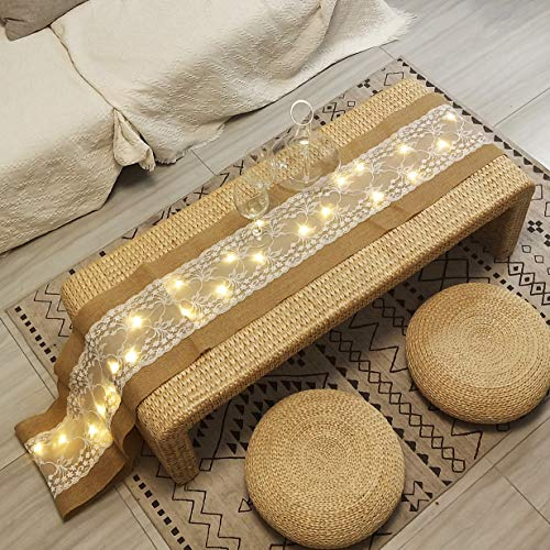 40 LED Table Runner With String Lights Handmade Burlap Roll Linen Fabric Tablecloth, Lace Natural Jute Rectangle Table Cover for Buffet, Party, Holiday Dinner, Reception, Wedding Decor - 12 x 108 Inch (Tablecloth Runners)