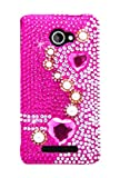 HHI Full Diamond Graphic Case for HTC Windows Phone 8X - Pearls on Pink (Package include a HandHelditems Sketch Stylus Pen)