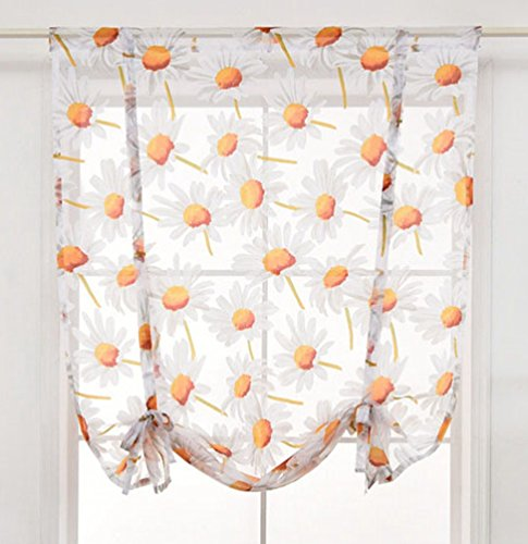 (ZebraSmile Floral Semi Sheer Kitchen Voile Shade Curtain Rod Pocket Transparent Window Curtain Roman Curtain Lifable Balloon Curtain, 31.5 x 55 Inch)