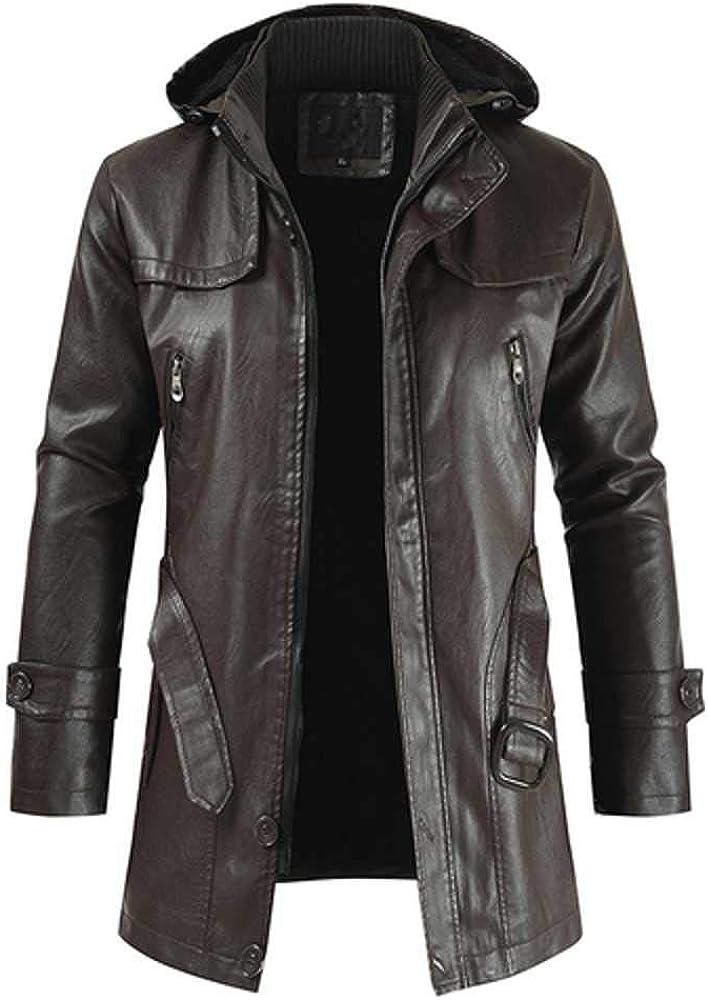 NOBRAND Chaqueta de cuero para hombre nueva moda casual PU con capucha delgada chaqueta de cuero para hombre