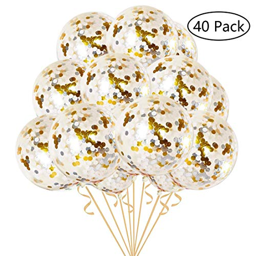 Silver & Gold Confetti Balloons 40 Pieces - Premium 12 Inch Clear Balloons with Gold & Silver Confetti Filled for Birthday Party, Wedding & Proposal Decorations ()