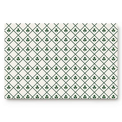 (Happy St. Patrick's Day Welcome Doormat Vintage Checker Plaid Tile Clover Leaf Customized Non Slip Door Mat Door Mat with Non Slip Backing Inside & Outside Floor Door Mat for Home Decor, 24 x16 Inch)