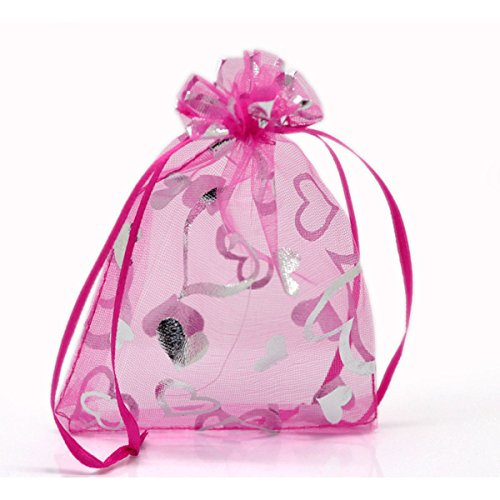 UPC 701256050312, Housweety 100PCs Fuchsia Love Heart Pattern Organza Wedding Gift Bags Pouches 12x9cm