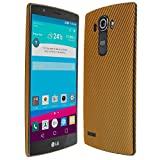 Skinomi Gold Carbon Fiber Full Body Skin Compatible with LG G4 (Full Coverage) TechSkin with Anti-Bubble Clear Film Screen Protector