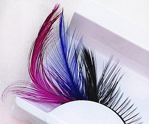 Dorisue (P4) One Pair Red Blue Feathered Eyelashes Coloured Rainbow show False Eyelash (White Feather Lashes)