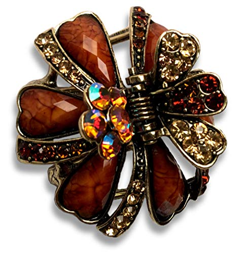 Ribbons and Flowers Metal Hair Claw Rhinestones and Sequins Antiqued Fashion Clip Lovely (Brown)
