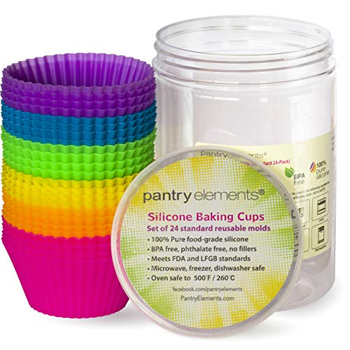 - Pantry Elements Silicone Cupcake Baking Cups Liners, 24 Pack Vibrant Silicone Molds Muffin Liners Cups with Bonus Screw Top Storage Jar