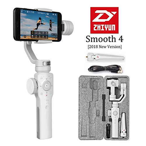 Zhiyun Smooth 4 3-Axis Handheld Gimbal Stabilizer, Upgraded Phone Camera Video Tripod w/Focus Pull&Zoom Vertigo Shot for iPhone X/8 Plus/7/SE Samsung Galaxy S9+/S8/S7/S6 Huawei etc Smartphones(White)