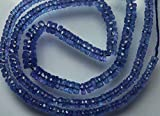 89.95 Cts, 17 Inches Long Strand, AAA Quality, Super Finest Natural Blue Tanzanite Faceted Wheel Cut Rondelles, 6.5-3.5mm