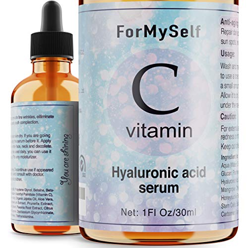51pzdDN41CL - Vitamin C Serum For Face 20% with Hyaluronic Acid 1 Fl.Oz Vitamin E Natural Anti Aging & Wrinkle Retinol Facial Serum Sun Damage Corrector Remover for Face Dark Circles Under Eye Fine Lines Treatment