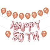 50th Birthday Balloons Rose Gold | Happy 50th Birthday Banner for Women | 50th Birthday Decorations | 50th Birthday Party Supplies | 50th Wedding Anniversary Decorations | 16inch