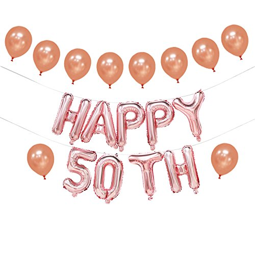 Happy 50th Birthday Balloon - 50th Birthday Balloons Rose Gold | Happy 50th Birthday Banner for Women | 50th Birthday Decorations | 50th Birthday Party Supplies | 50th Wedding Anniversary Decorations | 16inch