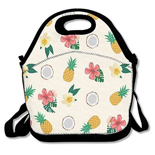 Pineapple And Flowers Personalized Insulated Lunch…