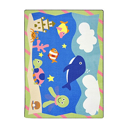 Joy Carpets Kid Essentials Infants & Toddlers Sea Babies Rug, Multicolored, 3'10'' x 5'4'' by Joy Carpets