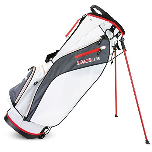 Sahara Baja Lite Golf Stand Bag, White/Gray/Red