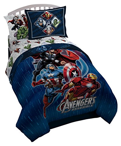 Marvel Avengers Assemble Full Comforter - Super Soft Kids Reversible Bedding features Iron Man, Hulk, Captain America, and Thor - Fade Resistant Polyester Microfiber Fill (Official Product) by Marvel