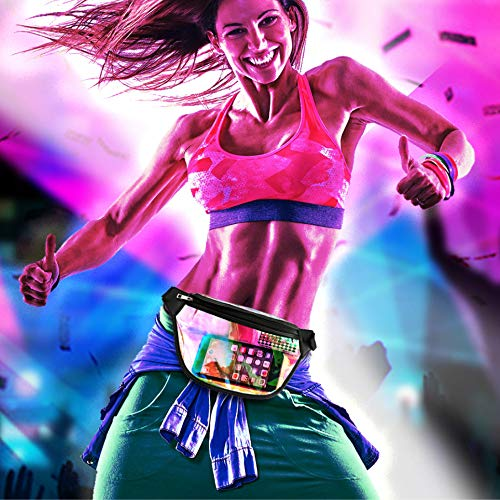 Fanny Pack, Packism Holographic Fanny Pack for Women Men, Shiny Neon Waist Pack Bag for Festival Rave Party, Iridescent Belt Bag