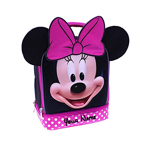 Mouse Lunch - Personalized Minnie Mouse Face Print Polka Dot with Ears Back to School Insulated Lunchbox Lunchbag with Name Embroidery - 9 Inches