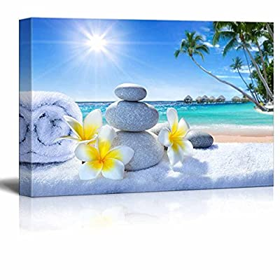 Canvas Prints Wall Art - Zen Stones with Fresh Flowers Overlooking The Tropical Ocean - 32