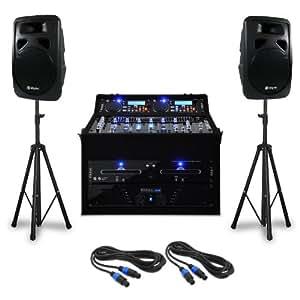 "Set DJ PA ""Punch Line"" 1200W 300 personas USB SD"