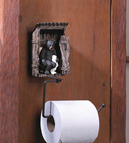 lunanice BEAR OUTHOUSE TOILET PAPER HOLDER Rustic Cabin Wildlife Bathroom Decor New
