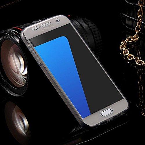 Samsung S7 SM-G930F Carcasas y Fundas Completo TPU Gel Frontal Trasera Case Cover Sunroyal Ultra Fina 360 Silicona Delantera + Trasera Doble Full Body Claro Transparente Bolso Sleeve [Anti-Gota] Prote A-01