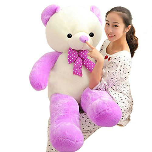 5 FT 63 Inches White and Purple Mixed Giant Teddy Bears Colorful Large Life Size Stuffed Plush Animals Toys for Young (Where To Buy Big Teddy Bears)