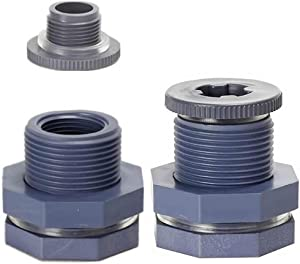 CHERRY CUTE 2 Pieces PVC Bulkhead Fitting with Plugs for Rain Barrels, Aquariums, Water Tanks, Tubs, Pools (3/4 Inch+4 Mm Thick Silicon Seal Gaskett, Grey)