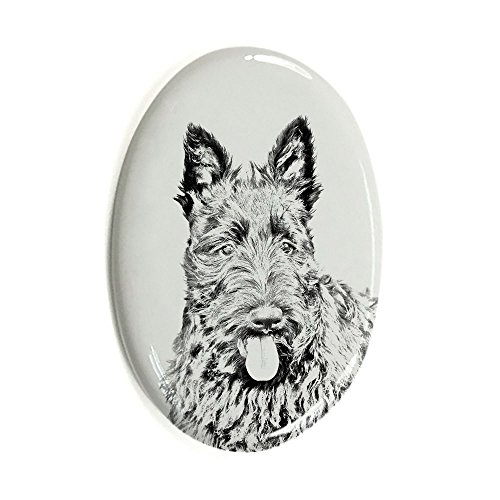 (Scottish Terrier, Oval Gravestone from Ceramic Tile with an Image of a Dog)