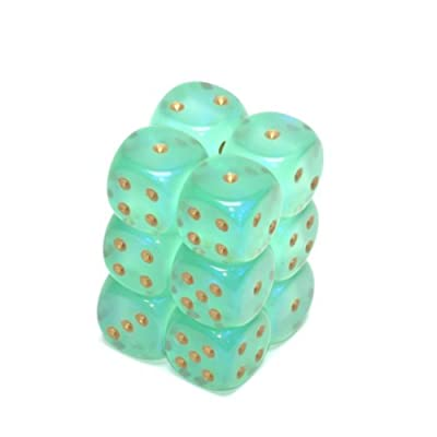 Chessex Borealis 16mm d6 Light Green w/gold Dice Block (12 Dice): Toys & Games [5Bkhe2006455]