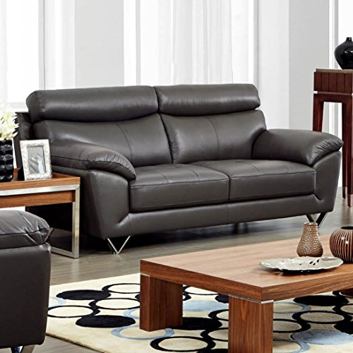 Luca Home Contemporary Grey Italian Leather Sofa by Luca Home