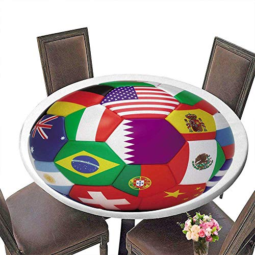 PINAFORE Circular Table Cover Soccer Ball with World Flags Isolated on White for Wedding/Banquet 31.5