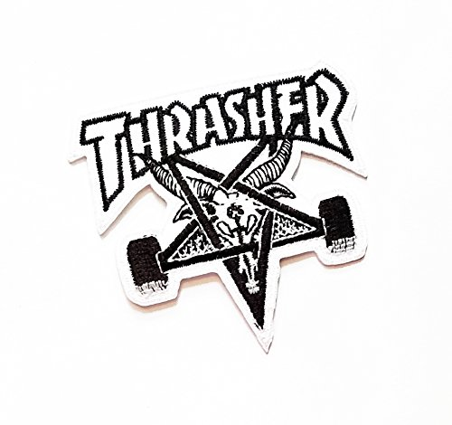 2.8'' X 3'' Star White THRASHER Heavy Metal Songs Music band logo jacket t-shirt Jeans Polo Patch Iron on Embroidered Logo Sign Badge patch by Tour les jours (Metal Songs About Halloween)