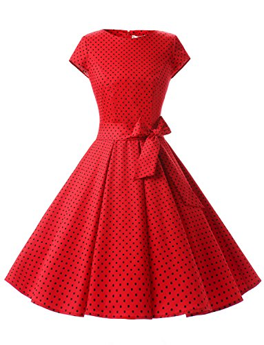 Dressystar DS1956 Women Vintage 1950s Retro Rockabilly Prom Dresses Cap-Sleeve S Red Black Dot A -