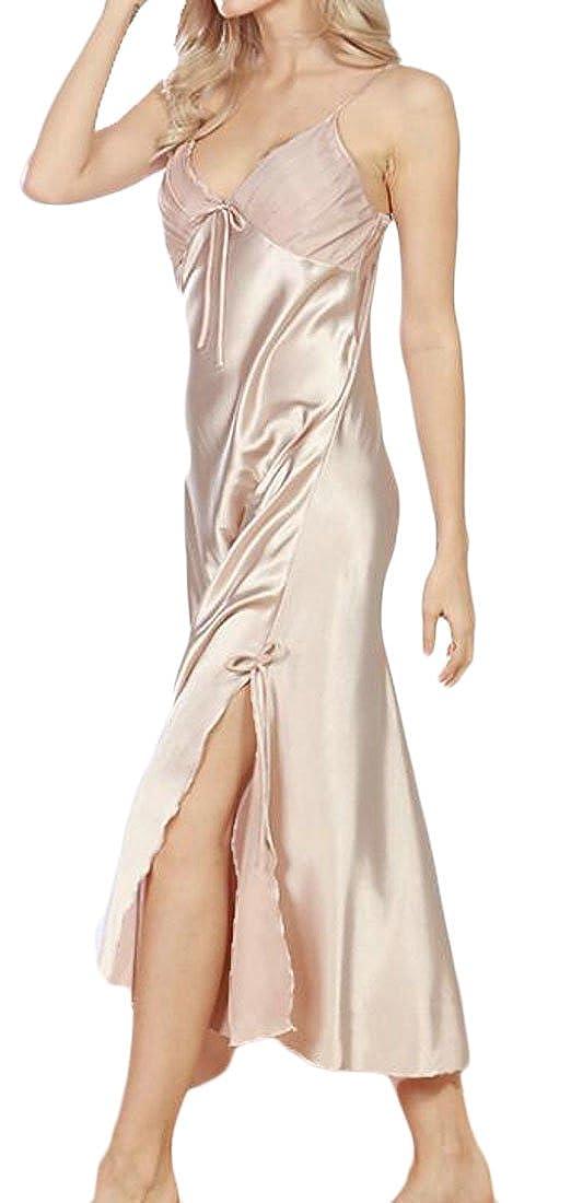 1728bdd734 YYear Women s Satin Lace Trim Chemise Nightgown Sexy Sleepwear Slip Dress  at Amazon Women s Clothing store