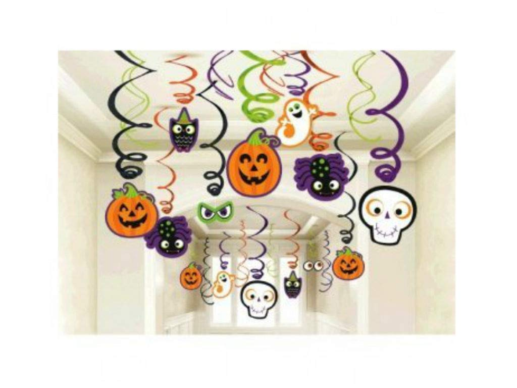 Amscan Family Friendly Halloween Creepy Creatures Swirl Ceiling Hanging Decoration, Foil, Pack of 30 Decorations TradeMart Inc. -- Dropship 670459